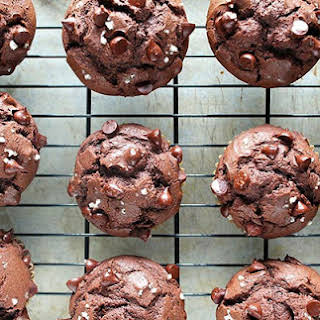 Double Dark Chocolate Chip Muffins with Sea Salt.