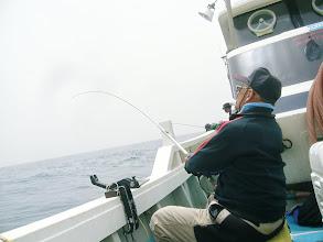 Photo: 朝10時ぐらいまで波が残ってて・・・。 船酔い船頭、やっと起き上がって写真撮るも・・ゆがんでる。