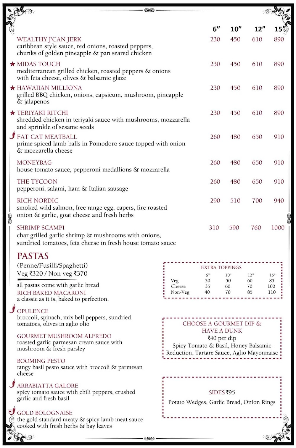 The Millionaire Pizza & Pasta menu 3