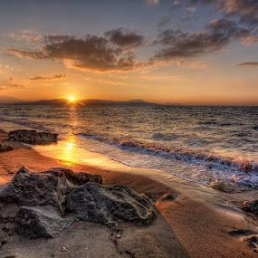 Sunset ... by Pawel Tomaszewicz - Landscapes Waterscapes ( wyspa, clouds, sand, grecja, europe, greek, greece, sea, crete, beach, island, sky, niebo, chmury, kreta, rocks, kriti )