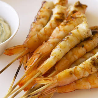 Char-Grilled Shrimp Skewers with Remoulade.