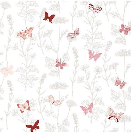 Christiana Masi Hashtag 11014 Tapet med ängsväxter och fjärilar, Rosa/Grå/Vit