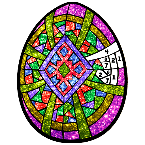 Easter Eggs Glitter Color by Number: Coloring Book Icon