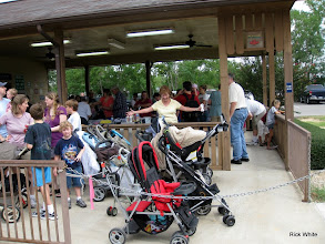 Photo: Mary Rains saying - look at all these strollers.   HALS 2009-0919