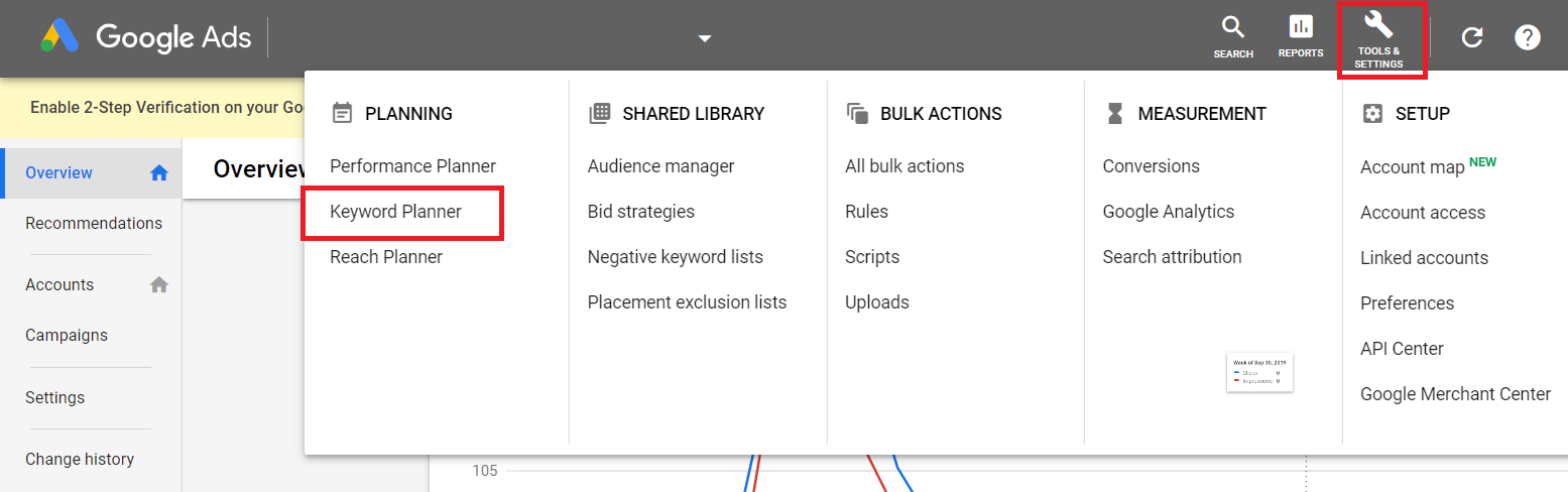 "Keyword Planner setup: First click ""Tools & Settings"" icon then under ""Planning"" select ""Keyword Planner""."