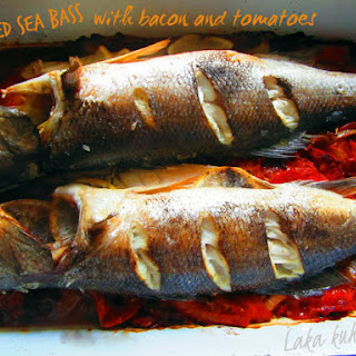 Roasted Sea Bass with Bacon and Tomatoes Recipe