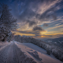 Winter sunset by Miloš Hudarin - Landscapes Mountains & Hills ( clouds, winter, cold, sunset, beautiful, snow )