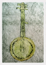 Photo: Three-string Left-handed Banjo dry-point etching