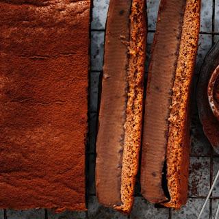 Bitter Caramel And Chocolate Custard Layer Cake.
