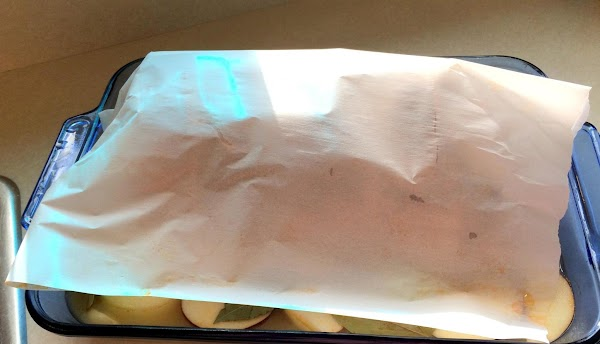 Cover with a piece of parchment paper. Cover with lid or like I did...