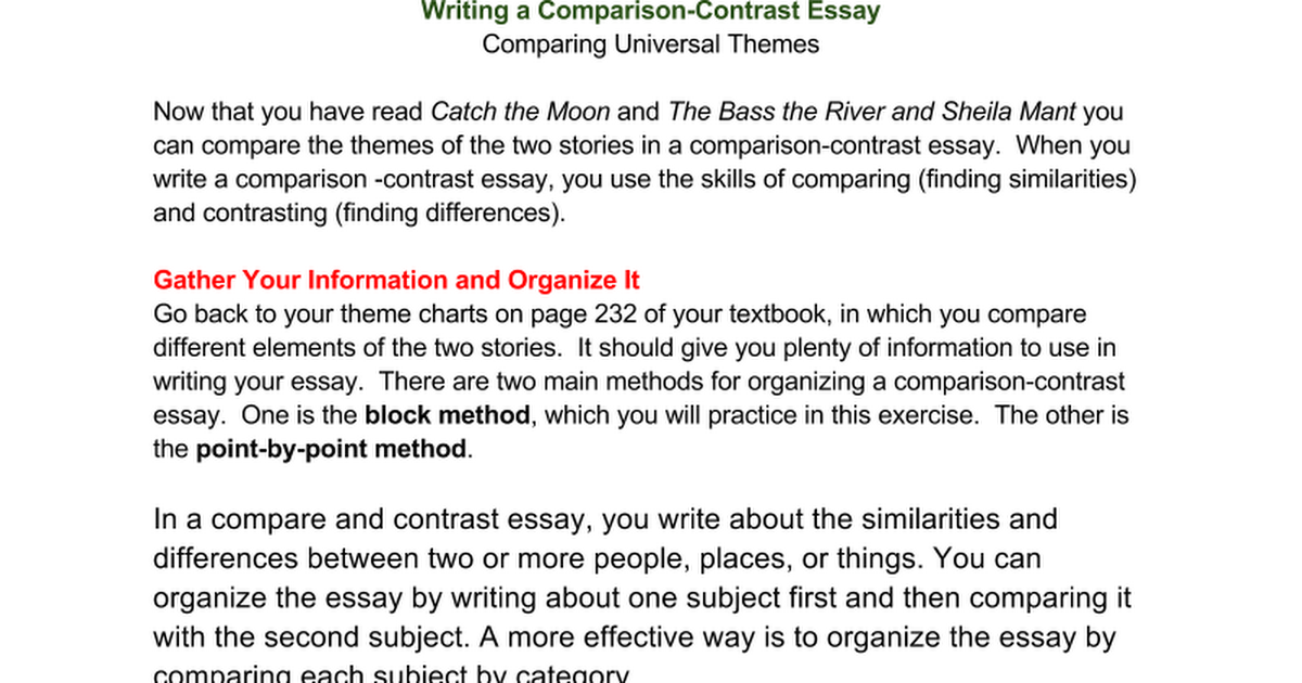 comparing universities essay The assignment sheet may say exactly what you need to compare, or it may ask you to come up with a basis for comparison yourself provided by the essay question: the essay question may ask that you consider the figure of the gentleman in charles dickens's great expectations and anne brontë's the tenant of wildfell hall.