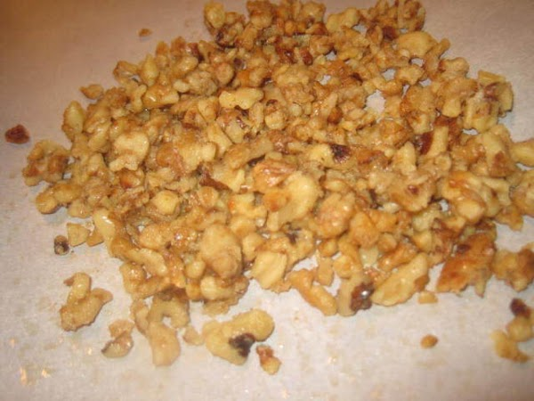 While orzo is cooling, candy the walnuts. In large saucepan on medium heat add...