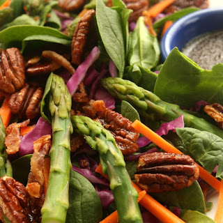 Spinach Salad with Asparagus and Maple Pecans