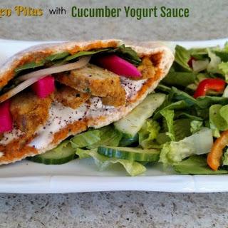 Curried Chicken Pitas with Cucumber Yogurt Sauce.