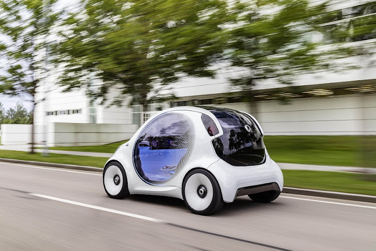 The Smart Vision EQ Fortwo could be a reality for Daimler's car-sharing platform by 2030. Left: The interior reflects the fact that the concept is a full Level 5 autonomous pod. Picture: DAIMLER