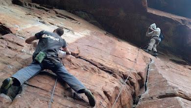 Photo: Ruan quickly climbs Jumani (19) to get a great shot of Mitch climbing Legends (25)