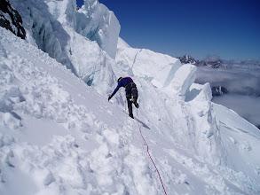 Photo: Sean checks the edge of a Bergschrund crevasse.