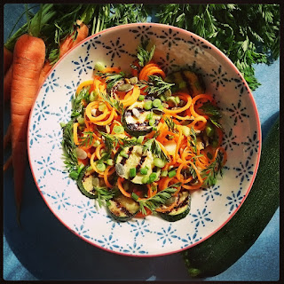 Carrot Noodle Salad with Charred Courgettes.