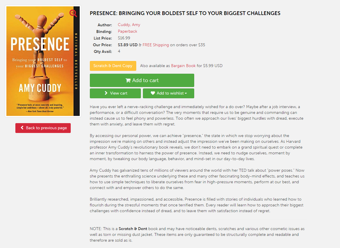 Presence book details, screenshot taken from Book Outlet site.