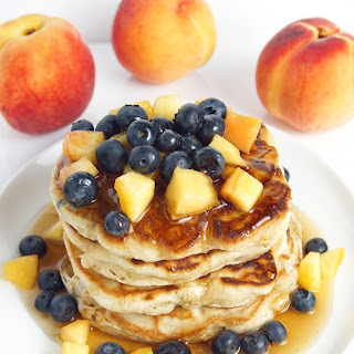 Blueberry Peach Pancakes with Honey Maple Syrup