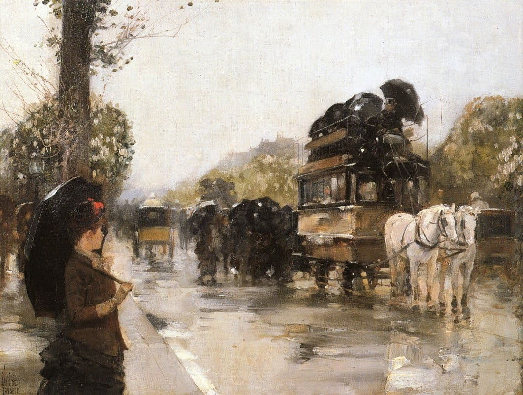 April Showers, Champs Elysees Paris by Frederick Childe Hassam - 1888.