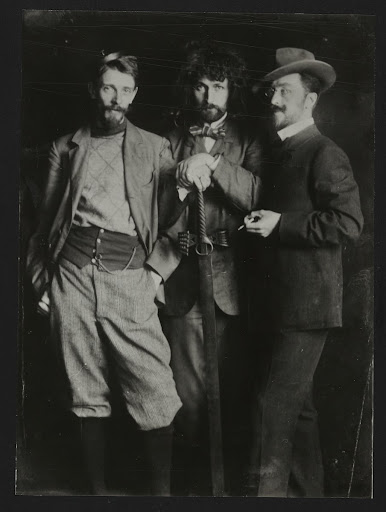 Nicolas Seddeler, Dimitri Kardovski and Wassily Kandinsky at the Anton Azbé painting school in Munich