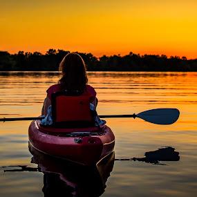 Sunset at Kensington by Chris Martin - People Street & Candids ( water, woman, sunset, lakes, kensington, lake, kayak, kayaking,  )