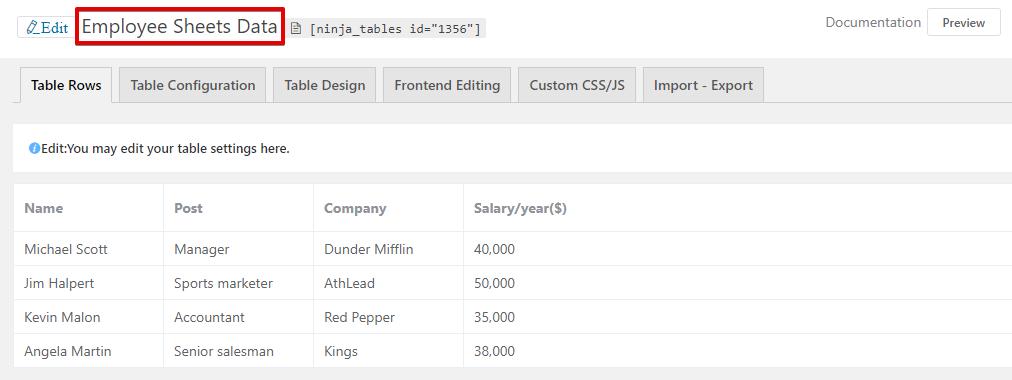 Ninja Tables Google Sheets data table integration