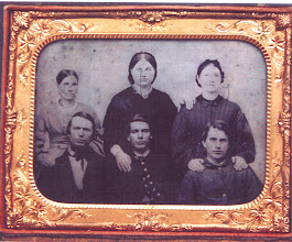 Photo: The Fredenburg Family, c. 1861 - 1864 / probably taken in Jerusalem Twp., Potter (now Yates) Co., New York / front, left to right: father Anthony, son Abram, son Sylvester / back, left to right: mother Hannah (Fox), possible daughter-in-law Myra [--?--], possible daughter-in-law, Mary Jane [--?--], Sylvester's first wife.  Women may also be daughters Amanda, Rachel, Lurinda or Isabella Fredenburg.