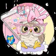Pink Cartoon Moon Owl Theme