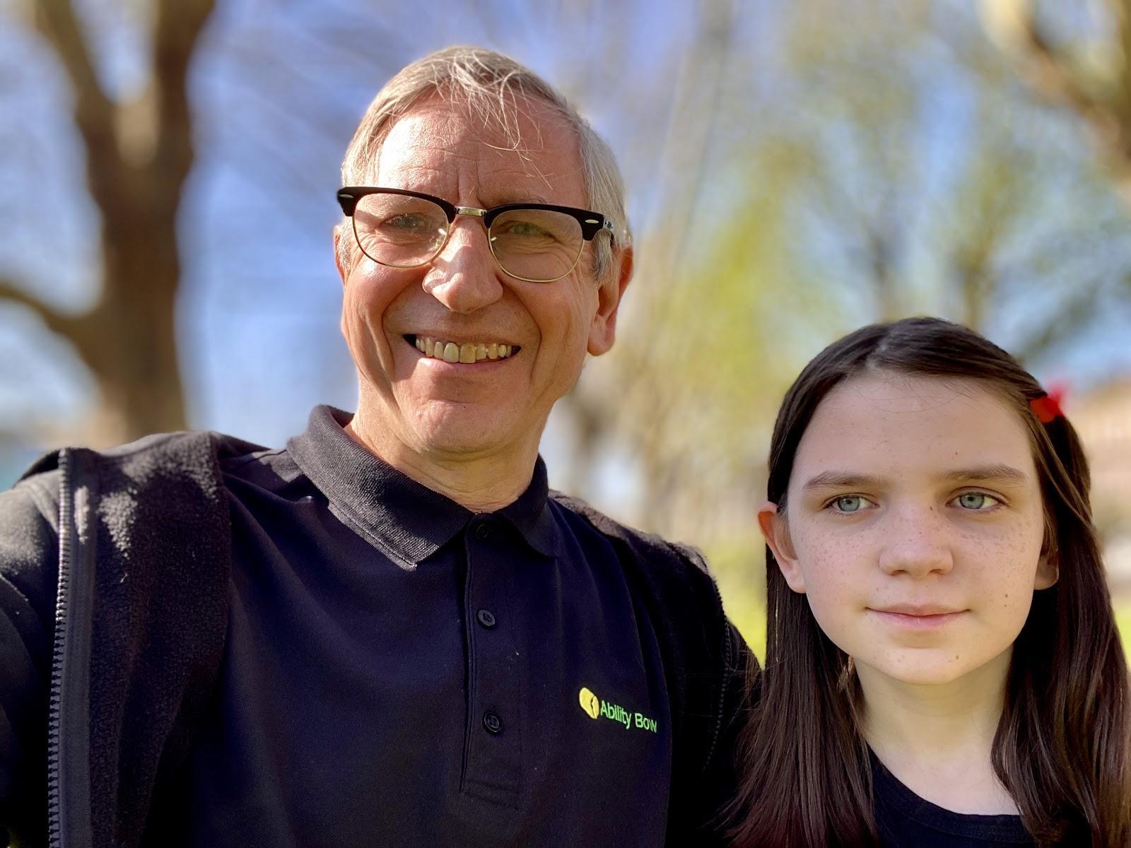 two smiling people portrait, taken on Hampstead Heath