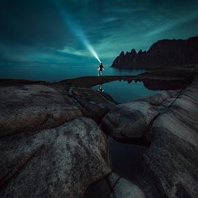 Beam Me Up by Jon-Eirik Boholm - Landscapes Mountains & Hills ( senja, night, norway,  )