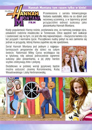 Tył ulotki filmu 'Hannah Montana. Film'