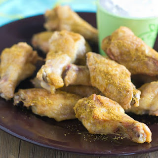 Crispy Indian Dry Wings with Yogurt Dipping Sauce.