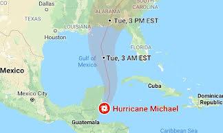 Hurricane forecast cone on Google Maps
