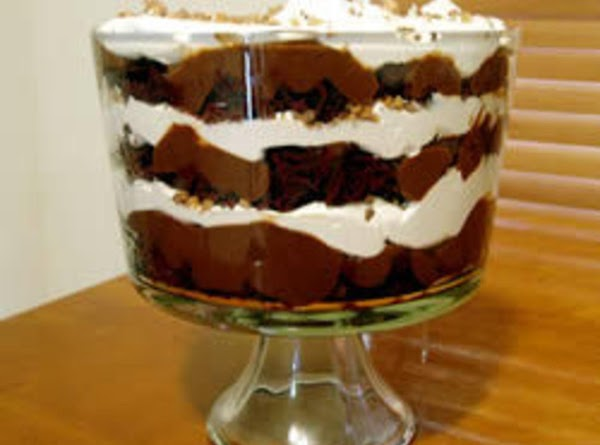 cube pound cake and layer in bowl, prepare instant chocolate mousse and spread over...