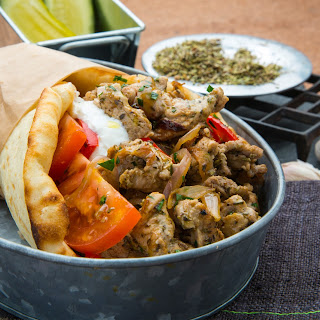 Ballpark Pork Gyro with Peppers and Onions Recipe