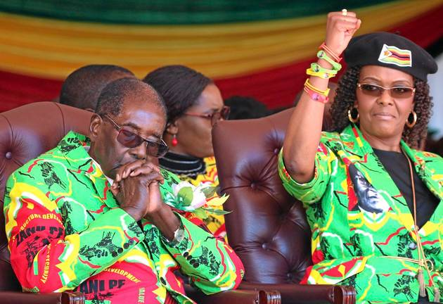 Zimbabwean President Robert Mugabe and his wife, Grace, at a rally in Marondera.
