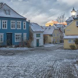 Sydneskleiven by David Guest - City,  Street & Park  Street Scenes ( bergen, winter, sydneskleiven, morning, historic )