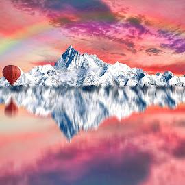 ***** by Murat Can - Digital Art Things ( mountain, reflection, balloons, fine art, sunset, digital art )