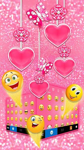Pink Hearts Keyboard Theme screenshots 3