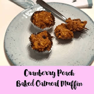 Cranberry Peach Baked Oatmeal Muffins.