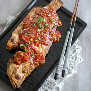 Broiled Red Snapper with Korean Chili Sauce.