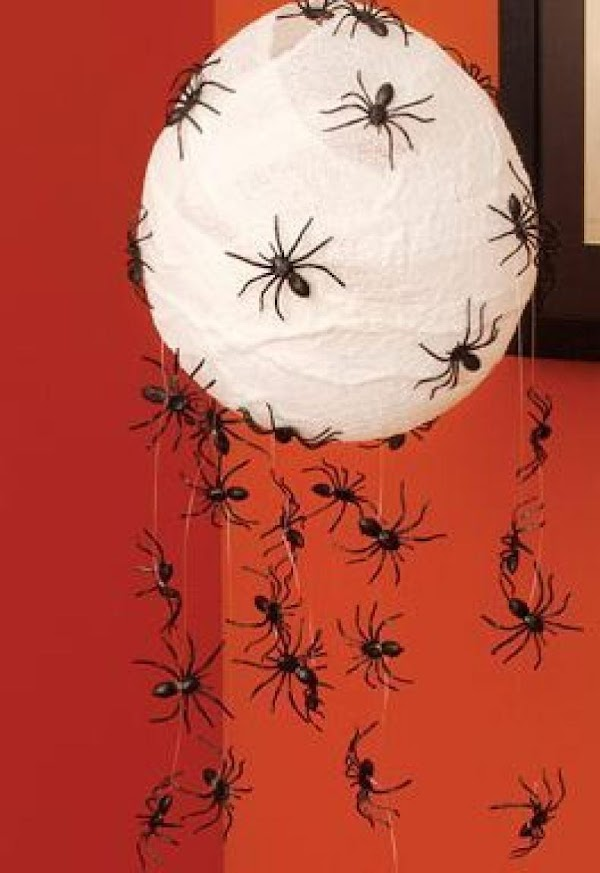 Hanging spiders nest.   Using a baloon, some fishing line, white tissue paper, and some...