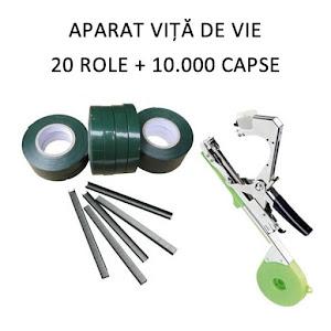 Aparat pentru legat vita de vie si legume + 10.000 capse + 20 role de banda