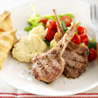 Chargrilled Lamb Chops with Hummus.
