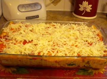 CREAMY GARDEN VEGETABLE ENCHILADA CASSEROLE