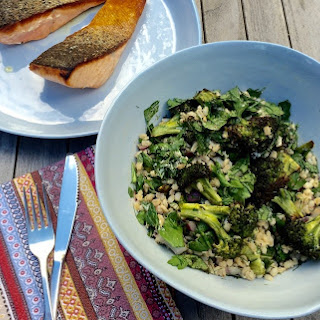 Crispy Skin Salmon With Roasted Broccoli And Barley Salad