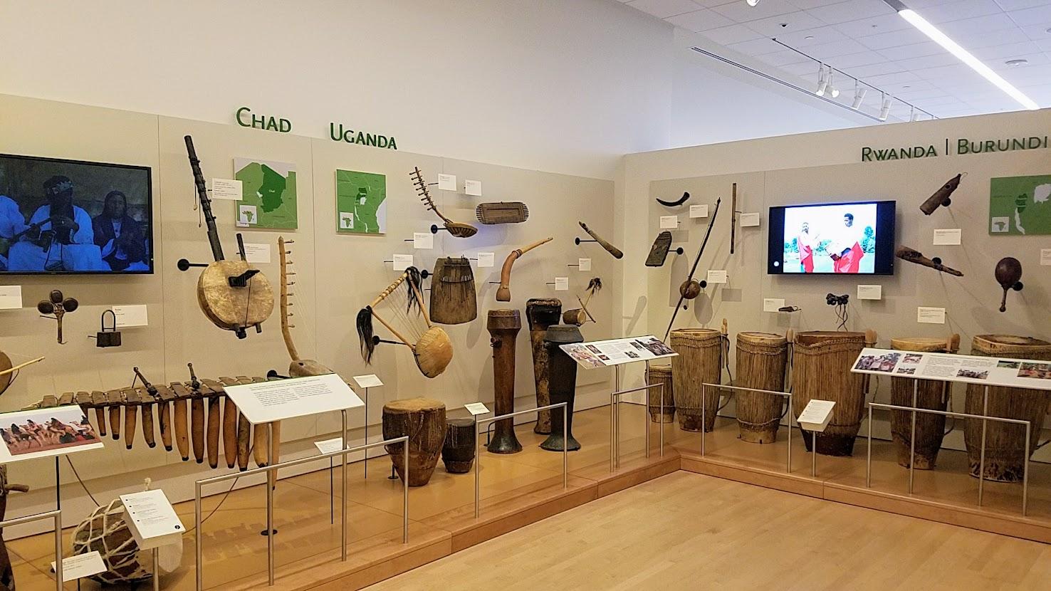 Music Instrument Museum (MIM) Geographic galleries, music instruments of Chad, Uganda, Rwanda