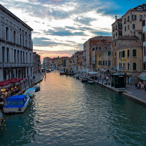 Venice at dusk by Robyn Vincent - City,  Street & Park  Street Scenes ( water scene, sunset, beautiful places, venice, italy )